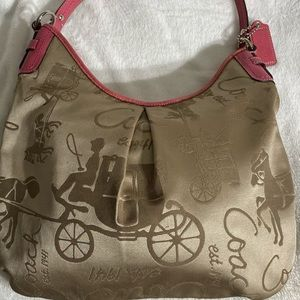 COACH Signature Jacquard Sateen Hobo Shoulder Bag